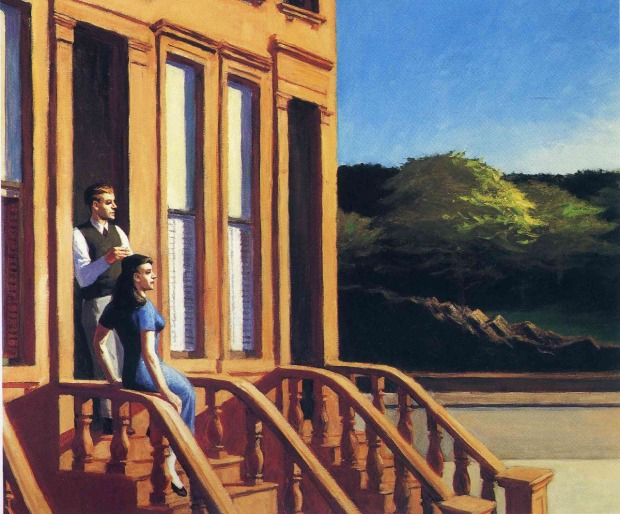 Sunlight on Brownstones, Edward Hopper (1956, Huile sur toile)